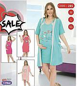 Комплект халат 3/4 рукав і нічна туніка для вагітних і годуючих мам бавовна 100% колір малина,червоний