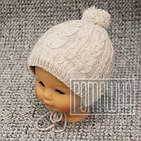 Зимняя тёплая термо р 42-44 5-9 мес вязаная шапочка для девочки новорожденных малышей зима 3894 Розовый 44