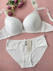 85D Комплект женского нижнего белья, гладкий бюст с ажурной вставкой на корректоре, гладкие трусики слипы