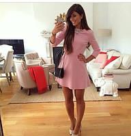 Платье розовое из габардина