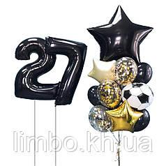 Шары для мужчины на день рождения и фольгированные цифры с гелием