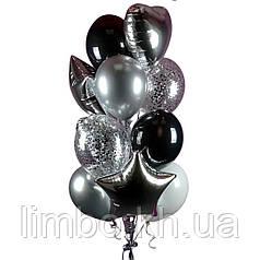 Мужские шарики на день рождения в черно-серебристом цвете