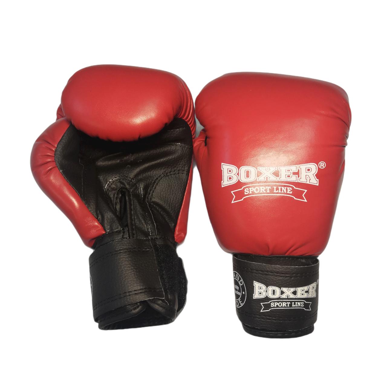 Боксерские перчатки 8 оz комбинированные, красные BOXER