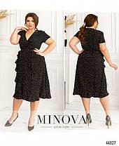 Комфортное женское чёрное платье из софта в горошек на лето, больших размеров от 48 до 62, фото 2