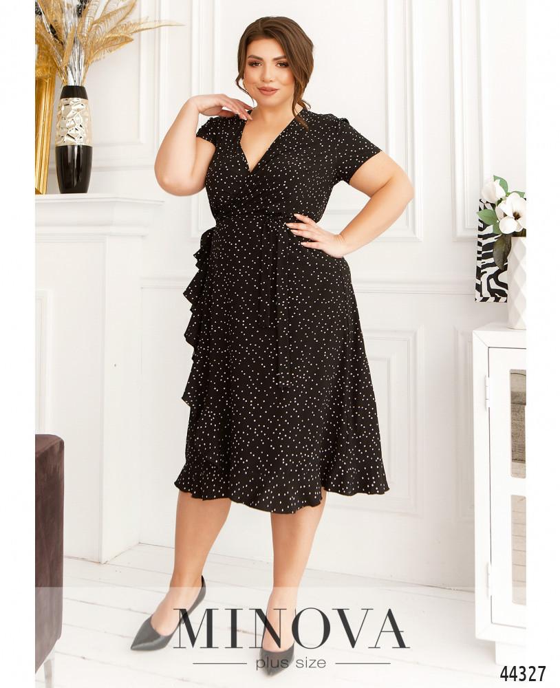 Комфортное женское чёрное платье из софта в горошек на лето, больших размеров от 48 до 62