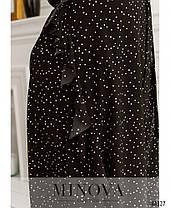 Комфортное женское чёрное платье из софта в горошек на лето, больших размеров от 48 до 62, фото 3