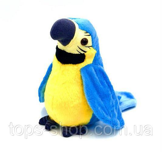 Інтерактивна іграшка мовець Папуга повторюшка М'яка іграшка папуга повторюха