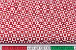 Тканина бязь з біло-червоними сердечками в квадратиках, №3358а, фото 2