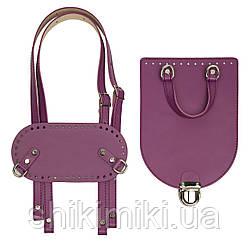 Рюкзачный комплект Saffiano з натуральної шкіри, колір пурпурний
