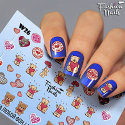 Слайдер-дизайн Ведмедики Тедді Fashion Nails Водні Наклейки для Дизайну Нігтів Ведмедики Тедді Teddy