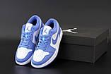 Кроссовки женские Nike Air Jordan 1 Low Court Blue в стиле найк джордан СИНИЕ (Реплика ААА+), фото 6