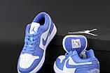 Кроссовки женские Nike Air Jordan 1 Low Court Blue в стиле найк джордан СИНИЕ (Реплика ААА+), фото 7