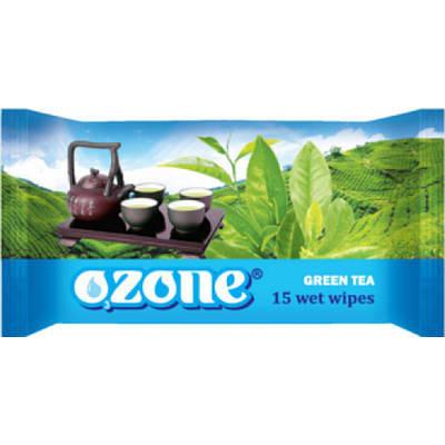 """Влажные алфетки зеленый чай""""OZONE"""" (15шт)"""