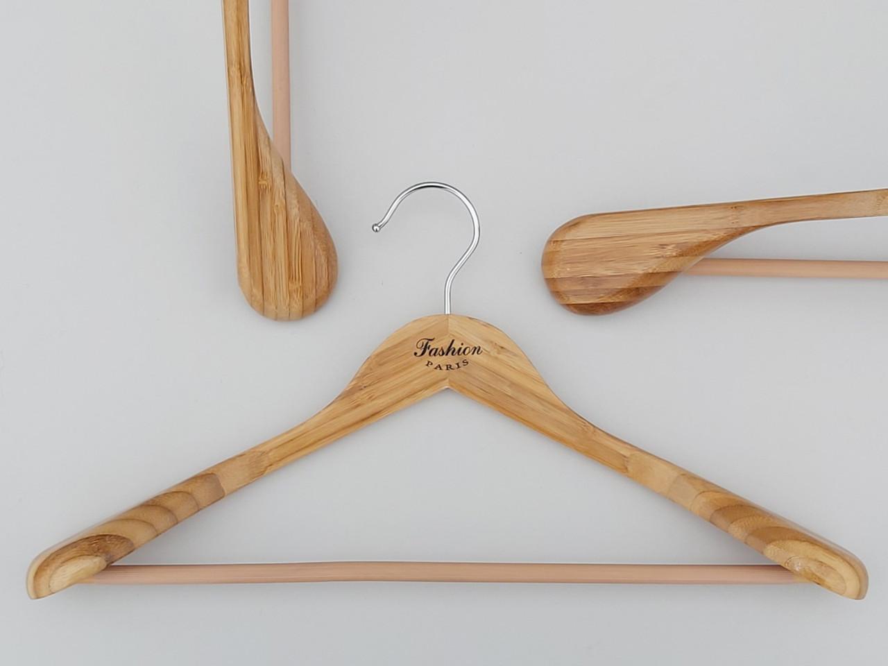 Плечики длиной 45 см вешалки бамбуковые широкие Fashion с антискользящей перекладиной