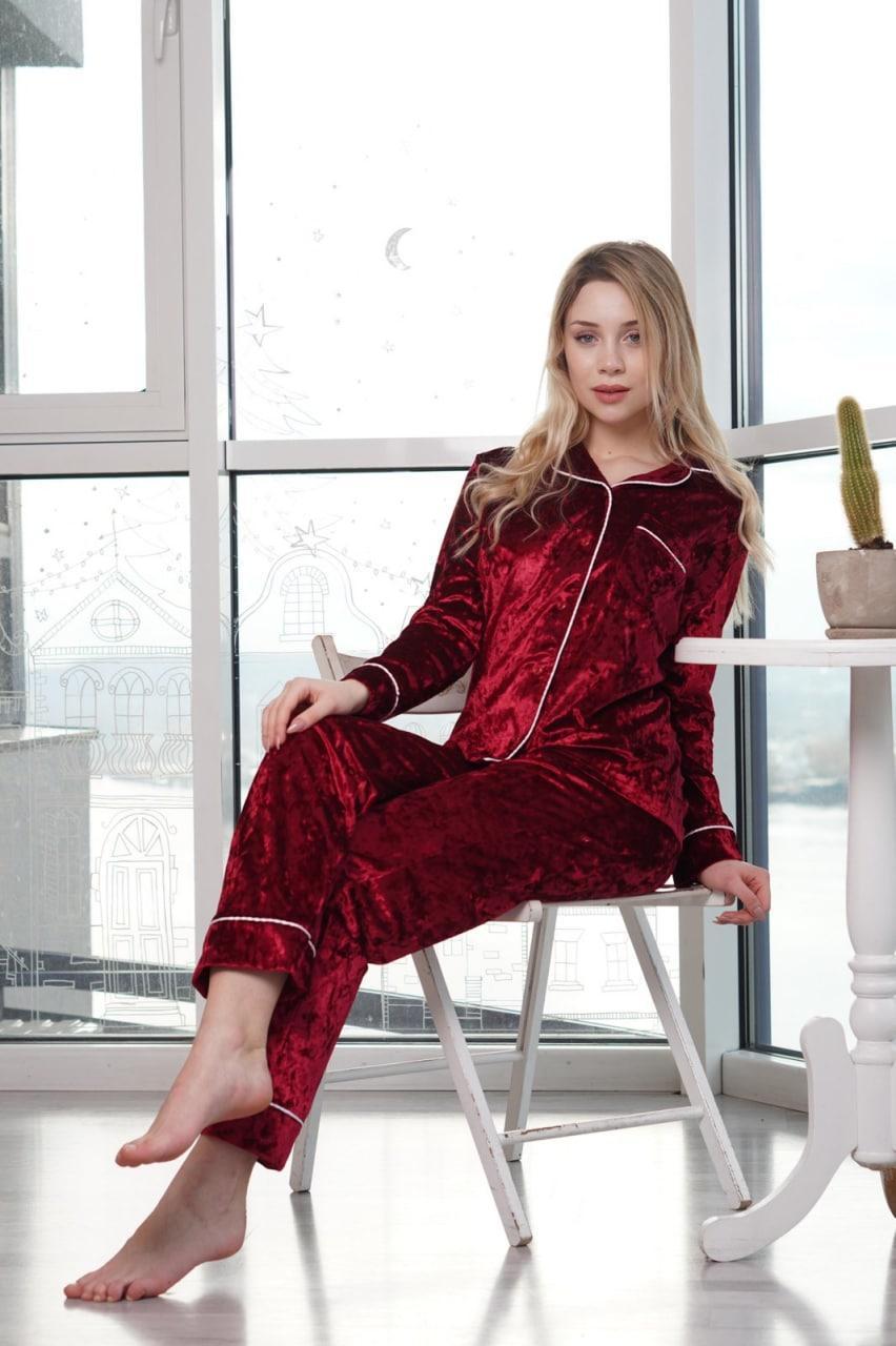 Піжама жіноча Nicoletta сорочка і штани мармуровий велюр Туреччина