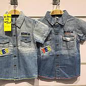 Детские джинсовые рубашки для мальчиков оптом Н&Н
