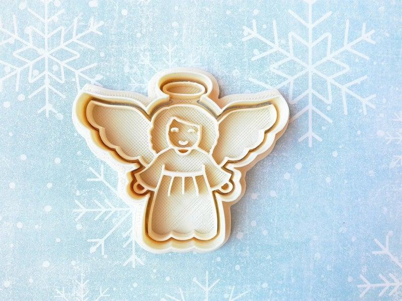 3Д Формочка+Штамп Ангел с крыльями Вырубка для печенья Ангелочек штамп