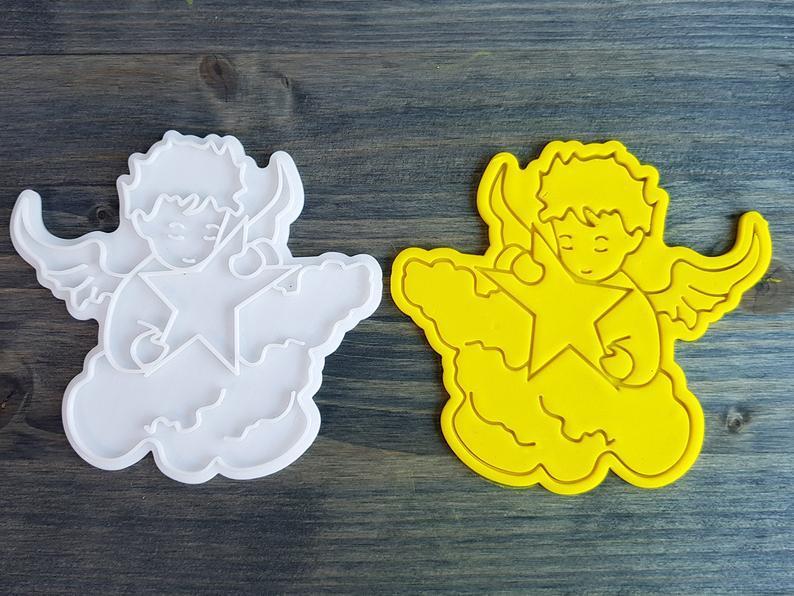3Д Формочка+Штамп Ангелочек с звездой Вырубка для печенья Ангелочек с звездой