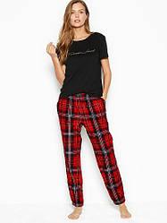 Бавовняна Піжама Victoria's Secret Cotton & Flannel Long PJ Set, Чорна / Червона в клітку