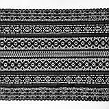 Стрейчевое (эластичное) кружево черного цвета шириной 22 см., фото 4