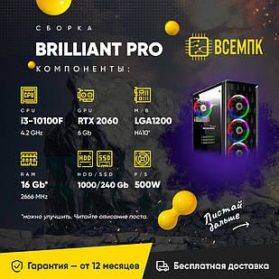 BRILLIRANT PRO (i3 10100F / GXT 2060 6GB / 16GB DDR4 / HDD 1000GB / SSD 240GB)
