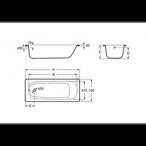 "Ванна ROCA ""Contessa "" 170х70см. без ножек, фото 2"