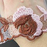 Ажурное кружево вышивка на сетке: розовая и коричневая нить по розовой сетке, ширина 14 см, фото 4