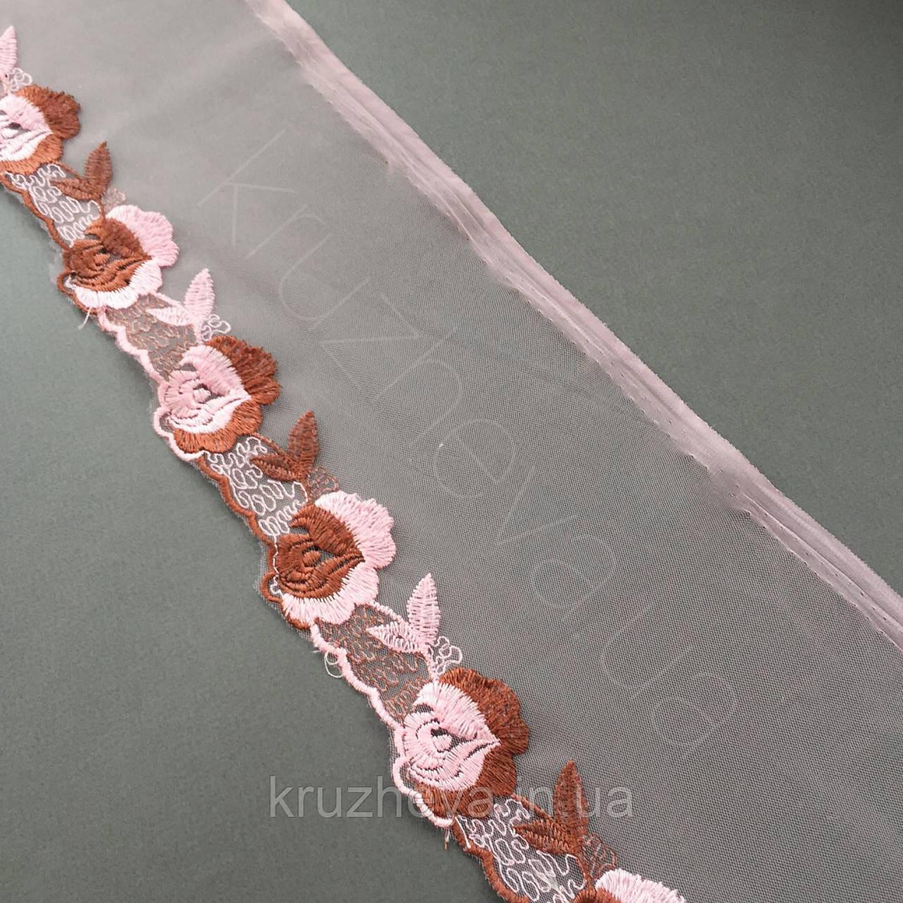 Ажурное кружево вышивка на сетке: розовая и коричневая нить по розовой сетке, ширина 14 см