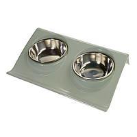 Миска для собак и кошек на подставке двойная (серо-голубой)