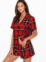 Пижама с Шортами Victoria's Secret Flannel Short PJ Set, Красная в клетку
