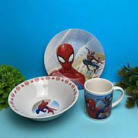 Детский набор стеклянной посуды для кормления Человек паук (спайдер мен)