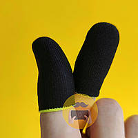Игровые напальчники Black / черные Fiber с желтым манжетом для игры на смартфоне