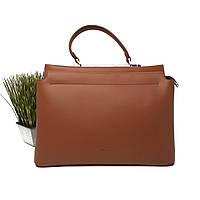 Велика жіноча сумка штучна шкіра руда Арт.XBY-20200712 brown Johnny (Китай), фото 1