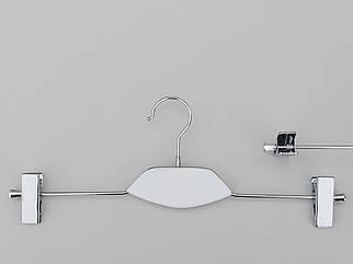 Довжина 40 см. Плічка вішалки тремпеля металевий зі вставкою з дерева білого кольору, для штанів і спідниць