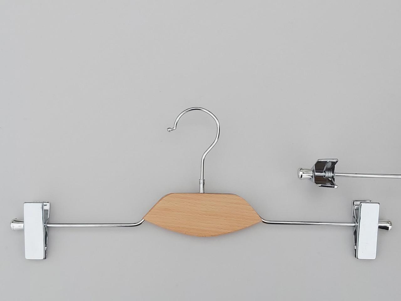 Довжина 40 см. Плічка вішалки тремпеля металевий зі вставкою із світлого дерева, для штанів і спідниць