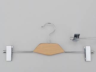Довжина 35 см. Плічка вішалки тремпеля металевий зі вставкою із світлого дерева, для штанів і спідниць