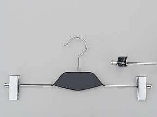 Довжина 35 см. Плічка вішалки тремпеля металевий зі вставкою з дерева чорного кольору, для штанів і спідниць