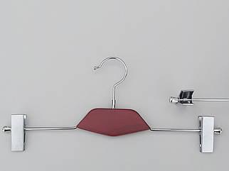 Довжина 35 см. Плічка вішалки тремпеля металевий зі вставкою з дерева кольору вишні, для штанів і спідниць