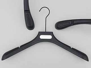 Плічка вішалки тремпеля PU45 з антиковзаючим ребристим плечем чорного кольору, довжина 45 см