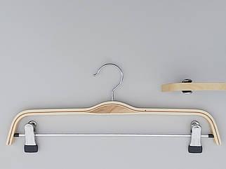 Довжина 37 см. Плічка вішалки тремпеля дерев'яні світлі для штанів і спідниць