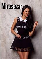 Платье черное с гипюром, белый воротник и вставки полосы