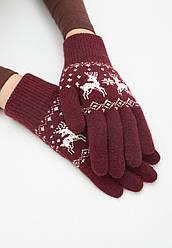 Отзывы (2 шт) о Faberlic Перчатки с новогодним узором цвет бордовый арт 600632
