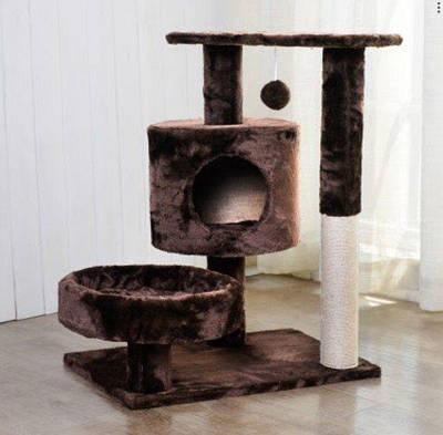 Когтеточка с домиком и лежанкой для котов (Коричневая)