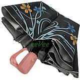 Парасолька напівавтомат Flagman p7484 жіночий складаний 10 спиць Чорний, фото 3