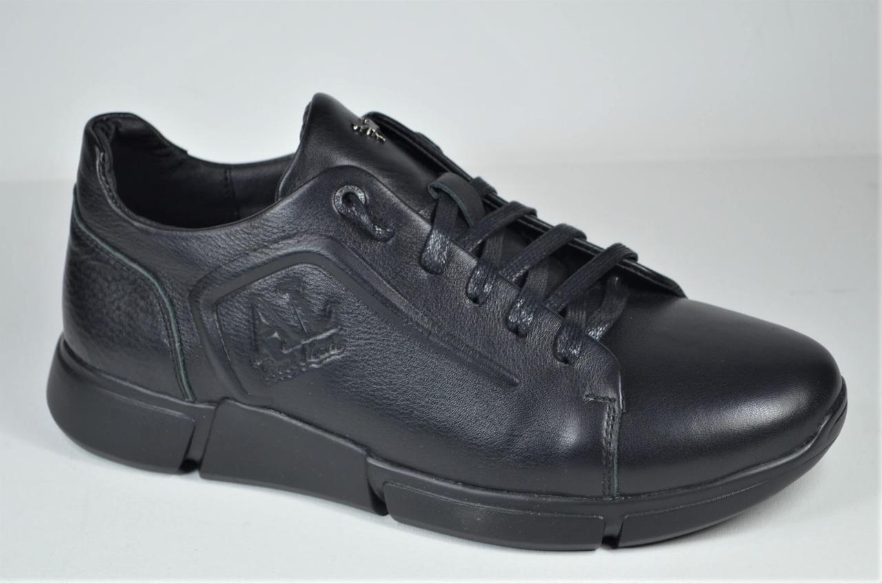Мужские кожаные кроссовки черные Anri Alexus 211 - 31