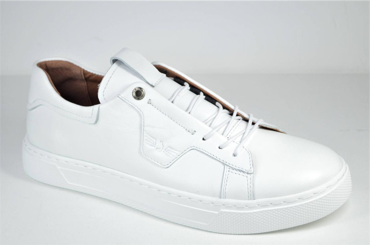Мужские спортивные туфли кожаные кеды белые Safari 812 - 1 - 505