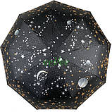 Парасолька жіночий повний автомат складаний B. Cavalli Зоряне небо 9 спиць в подарунковій коробці Чорний 4501, фото 3