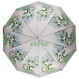 Зонт жіночий напівавтомат складаний Flagman fpa7333 з квітами Орхідеї 10 спиць Білий, фото 3