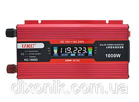 Инвертор преобразователь напряжения Power Inverter UKC 1000W KC-1000D с LCD дисплеем  12V в 220V