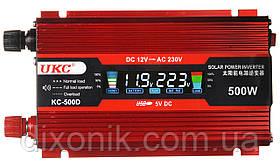 Инвертор преобразователь напряжения Power Inverter UKC KC-500D 500W с LCD дисплеем 12V в 220V